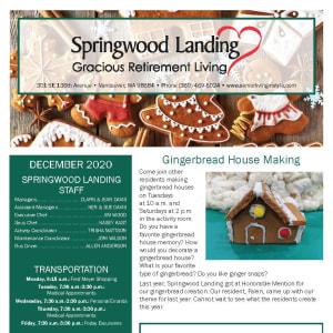 December Springwood Landing Gracious Retirement Living newsletter