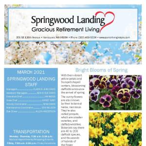 March Springwood Landing Gracious Retirement Living newsletter