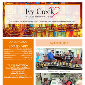 January Ivy Creek Gracious Retirement Living Newsletter