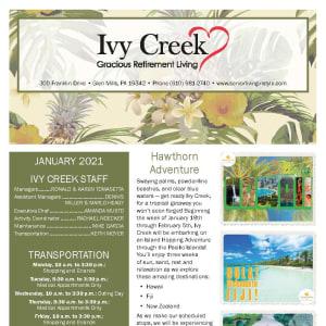 January newsletter at Ivy Creek Gracious Retirement Living in Glen Mills, Pennsylvania