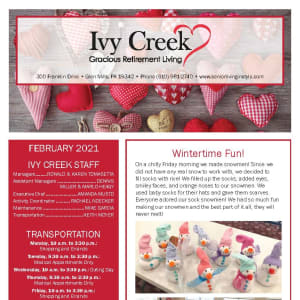 February newsletter at Ivy Creek Gracious Retirement Living in Glen Mills, Pennsylvania