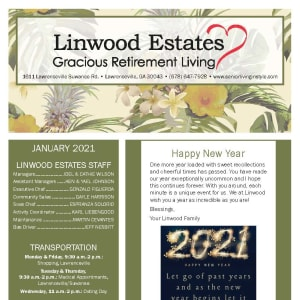 January newsletter at Linwood Estates Gracious Retirement Living in Lawrenceville, Georgia