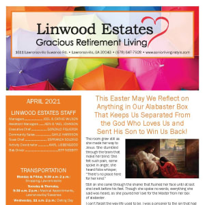 April newsletter at Linwood Estates Gracious Retirement Living in Lawrenceville, Georgia