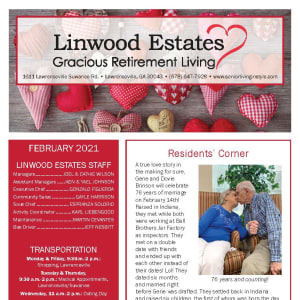 February newsletter at Linwood Estates Gracious Retirement Living in Lawrenceville, Georgia