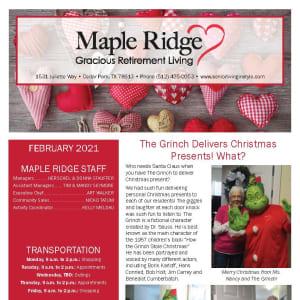 February newsletter at Maple Ridge Gracious Retirement Living in Cedar Park, Texas