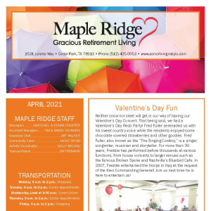 April newsletter at Maple Ridge Gracious Retirement Living in Cedar Park, Texas