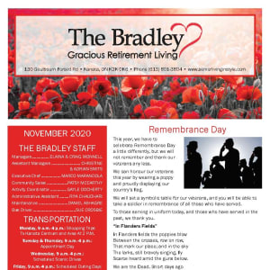 November newsletter at The Bradley Gracious Retirement Living in Kanata, Ontario