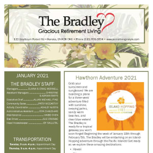 January newsletter at The Bradley Gracious Retirement Living in Kanata, Ontario