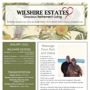 January newsletter at Wilshire Estates Gracious Retirement Living in Silver Spring, Maryland