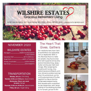 November newsletter at Wilshire Estates Gracious Retirement Living in Silver Spring, Maryland