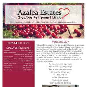 November newsletter at Azalea Estates Gracious Retirement Living in Chapel Hill, North Carolina
