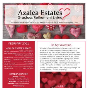 February newsletter at Azalea Estates Gracious Retirement Living in Chapel Hill, North Carolina
