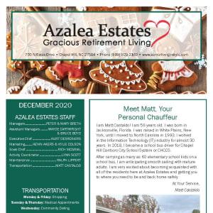December Azalea Estates Gracious Retirement Living Newsletter