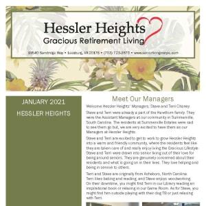 January Hessler Heights Gracious Retirement Living newsletter