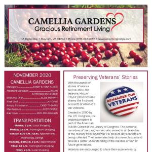 November newsletter at Camellia Gardens Gracious Retirement Living in Maynard, Massachusetts