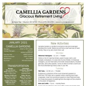 January newsletter at Camellia Gardens Gracious Retirement Living in Maynard, Massachusetts