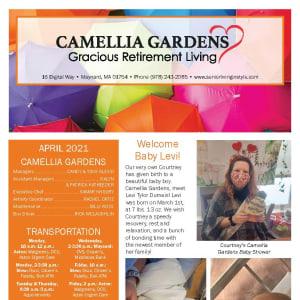 April newsletter at Camellia Gardens Gracious Retirement Living in Maynard, Massachusetts