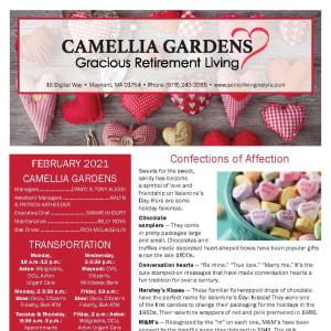 February newsletter at Camellia Gardens Gracious Retirement Living in Maynard, Massachusetts