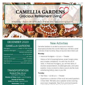 December Camellia Gardens Gracious Retirement Living Newsletter