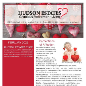 February newsletter at Hudson Estates Gracious Retirement Living in Lansdale, Pennsylvania