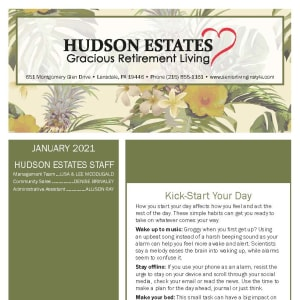 January newsletter at Hudson Estates Gracious Retirement Living in Lansdale, Pennsylvania