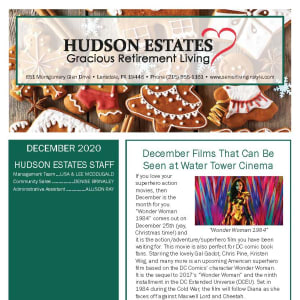 December Hudson Estates Gracious Retirement Living newsletter
