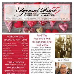February newsletter at Edgewood Point Assisted Living in Beaverton, Oregon