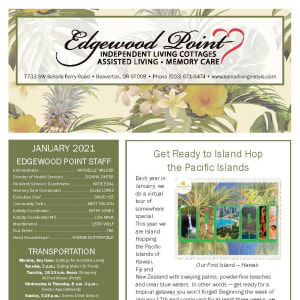January newsletter at Edgewood Point Assisted Living in Beaverton, Oregon