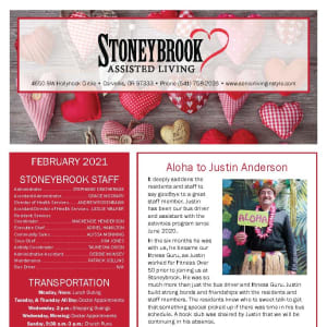 February newsletter at Stoneybrook Assisted Living in Corvallis, Oregon