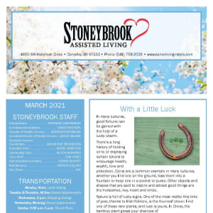 March Stoneybrook Assisted Living newsletter