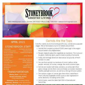 April newsletter at Stoneybrook Assisted Living in Corvallis, Oregon