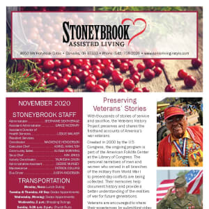 November newsletter at Stoneybrook Assisted Living in Corvallis, Oregon