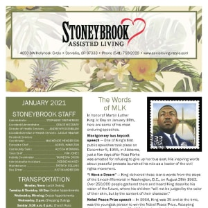 January newsletter at Stoneybrook Assisted Living in Corvallis, Oregon