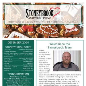 December Stoneybrook Assisted Living newsletter