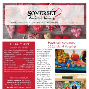 February newsletter at Somerset Assisted Living in Gladstone, Oregon