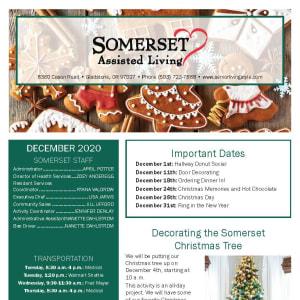 December Somerset Assisted Living newsletter