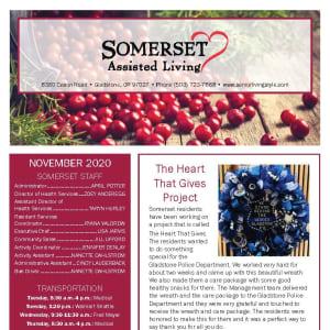 November newsletter at Somerset Assisted Living in Gladstone, Oregon