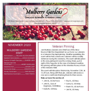 November newsletter at Mulberry Gardens Assisted Living in Munroe Falls, Ohio