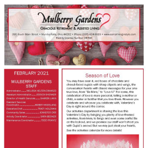 February newsletter at Mulberry Gardens Assisted Living in Munroe Falls, Ohio