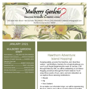 January newsletter at Mulberry Gardens Assisted Living in Munroe Falls, Ohio