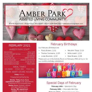 February newsletter at Amber Park in Pickerington, Ohio