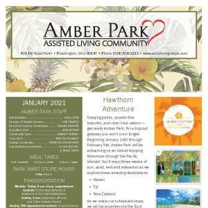 January newsletter at Amber Park in Pickerington, Ohio
