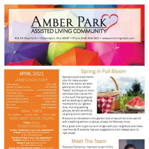 April newsletter at Amber Park in Pickerington, Ohio