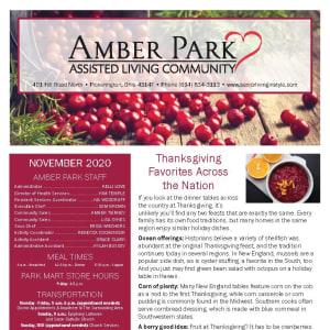 November newsletter at Amber Park in Pickerington, Ohio