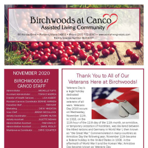 November newsletter at Birchwoods at Canco Assisted Living in Portland, Maine