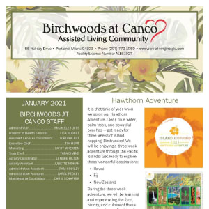 January newsletter at Birchwoods at Canco Assisted Living in Portland, Maine
