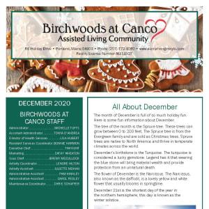 December Birchwoods at Canco Assisted Living newsletter