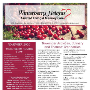 November newsletter at Winterberry Heights Assisted Living and Memory Care in Bangor, Maine