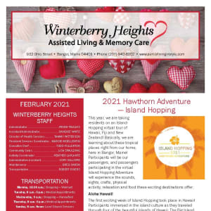 February newsletter at Winterberry Heights Assisted Living and Memory Care in Bangor, Maine