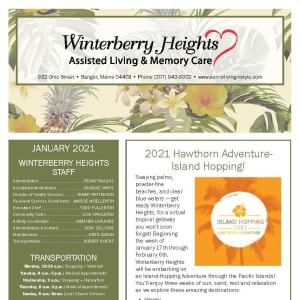 January newsletter at Winterberry Heights Assisted Living and Memory Care in Bangor, Maine